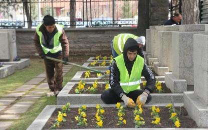 Büyükşehir,  Şehitlikleri Çiçeklerle  Donatıyor