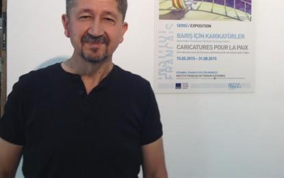 """Rıdvan Şükür,"""" Dünya barışına adanan karikatürler"""" sergisinde"""