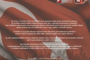 İKÇÜ Rektörlüğünden '15 Temmuz Demokrasi ve Milli Birlik Günü' Mesajı